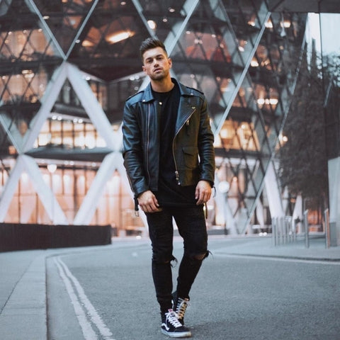 Black t-shirt with jacket