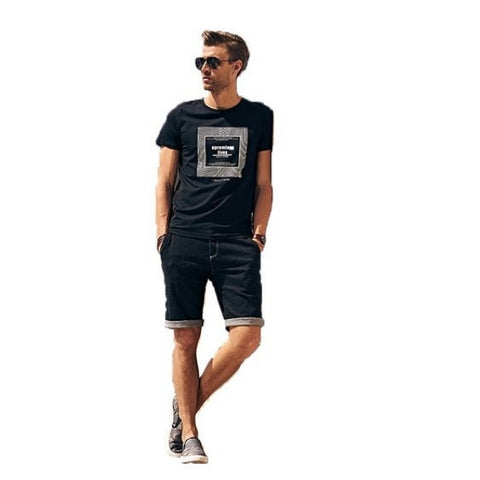 black t-shirt with shorts
