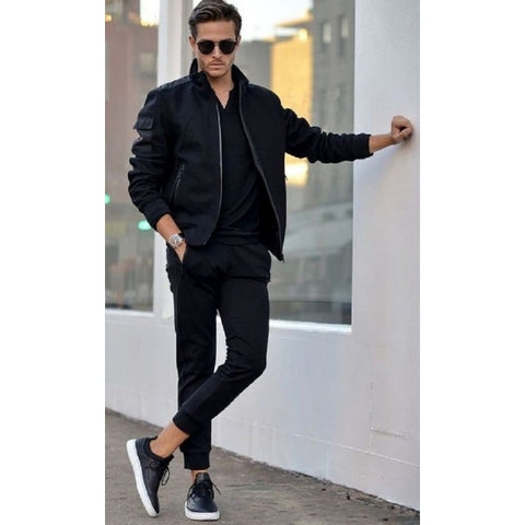 black t-shirt with joggers