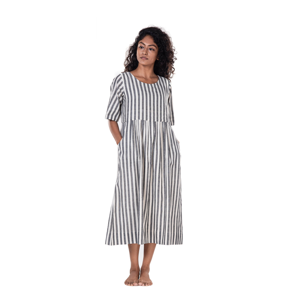 Khadi Pleated Stripe Dress