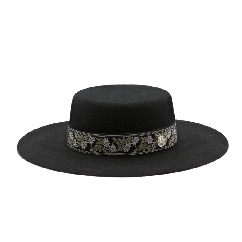 Abyss - Black Wide-Brim Wool Hat with Floral Green Ribbon