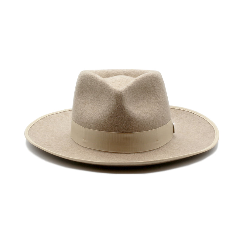 Sand Dollar - Tan Wool Blend Wide-Brim Wool Hat with Tan Ribbon