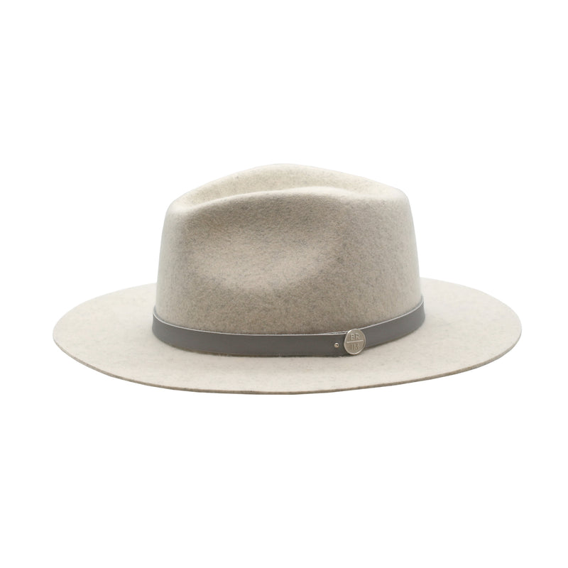 Sea Glass - Mixed Beige-Blue Wide-Brim Wool Hat with Grey Leather Band