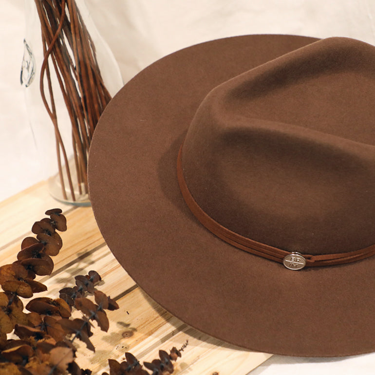 'Til Dusk - Brown Rust Wide-Brim Wool Hat with Brown Rust Suede Band