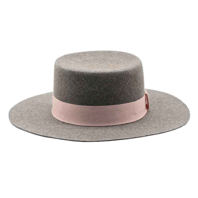 The Californian - Mixed Grey Wide-Brim Wool Hat with Light Pink Ribbon