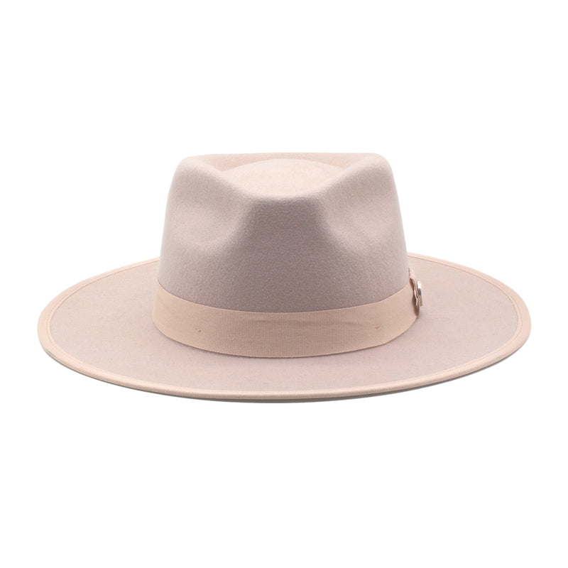 The Himalayan - Blush Wide-Brim Wool Hat with Blush Ribbon