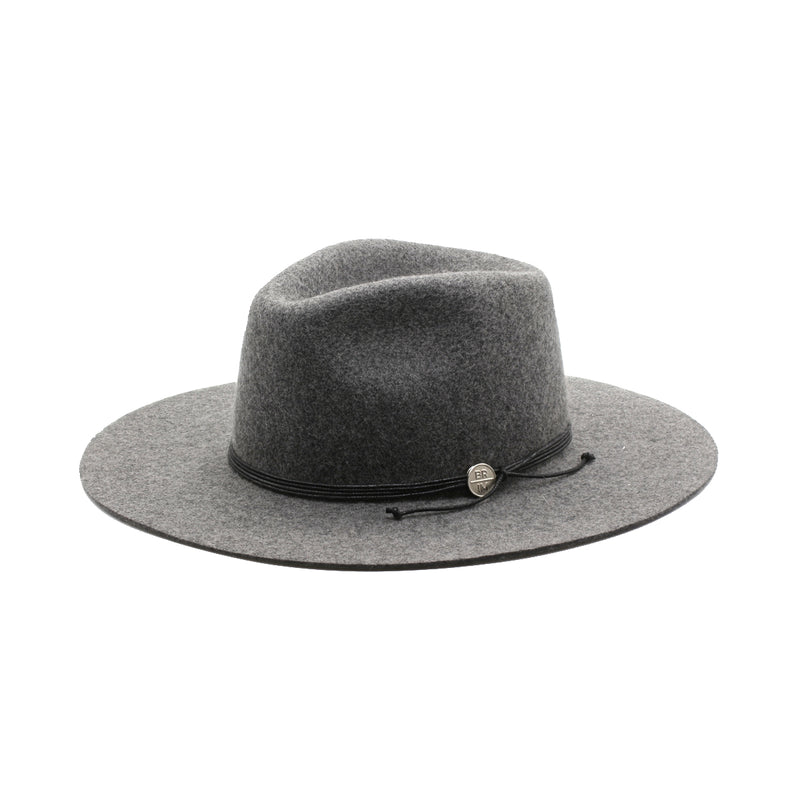 London Skye - Charcoal-Grey Wide-Brim Wool Hat With Black Leather Rope
