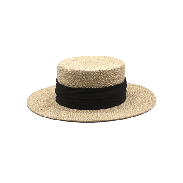 The Sunny Spot - Natural Short-Brim Straw Hat with Black Ribbon