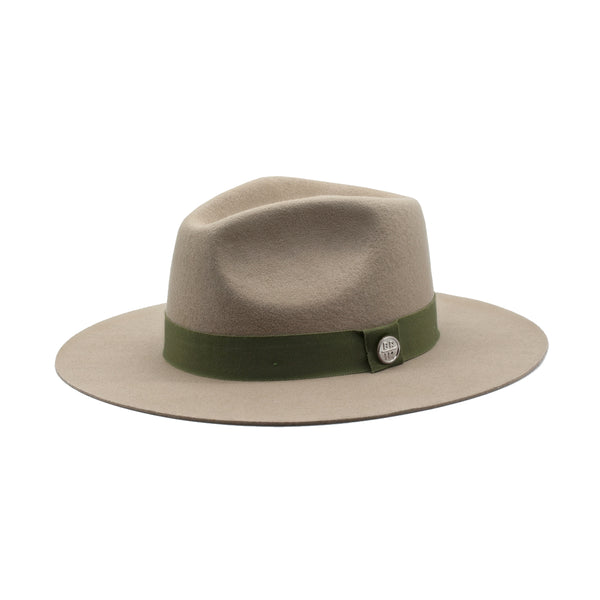 The Texan - Tan Wide-Brim Wool Hat with Olive Green Ribbon