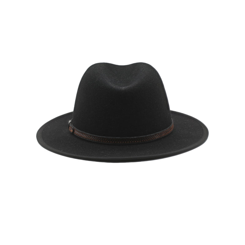 The Wanderer - Black Medium-Brim Wool Hat with Brown Leather Band