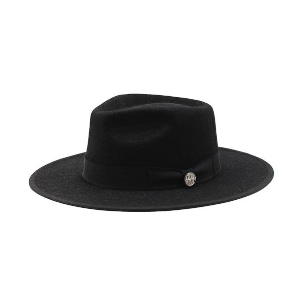The Warden - Black Wide-Brim Wool Hat with Back Ribbon