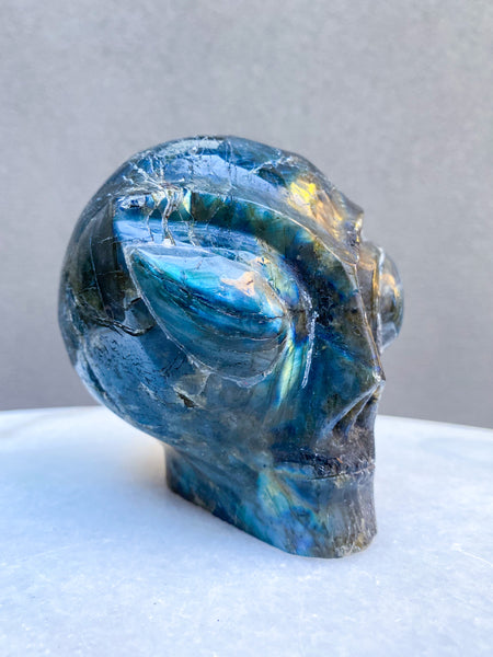 Labradorite Alien Head Carving