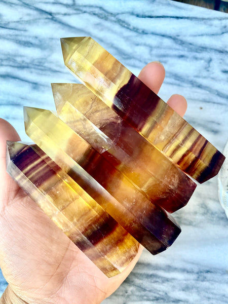 Yellow and Red Fluorite Points