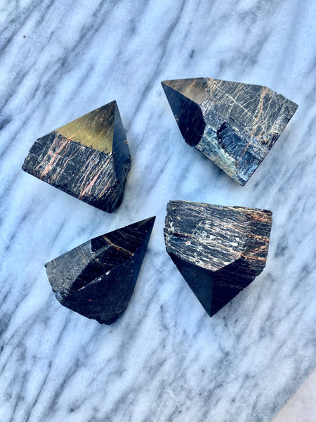 Tourmaline and Hematite Half-Polished Points