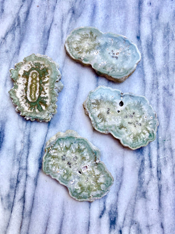 Green Amethyst Stalactite Slices