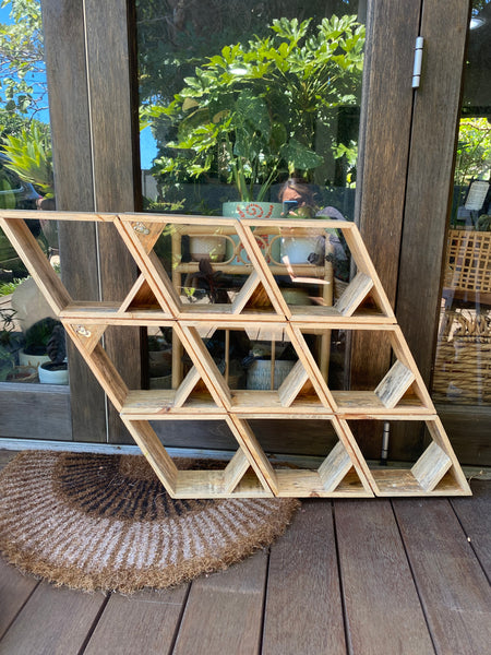 PICKUP ONLY - Large Diamond Shaped Recycled Wood Shelf