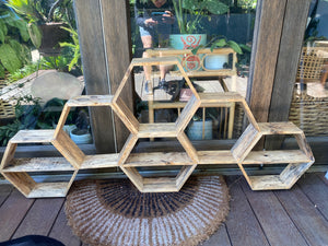 PICKUP ONLY - Large Honeycomb Recycled Wood Shelf