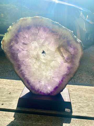 XL Amethyst Slice on Stand