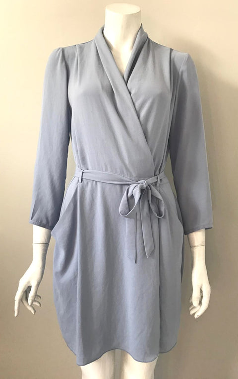Babaton Powder Blue Wrap Dress Size 6