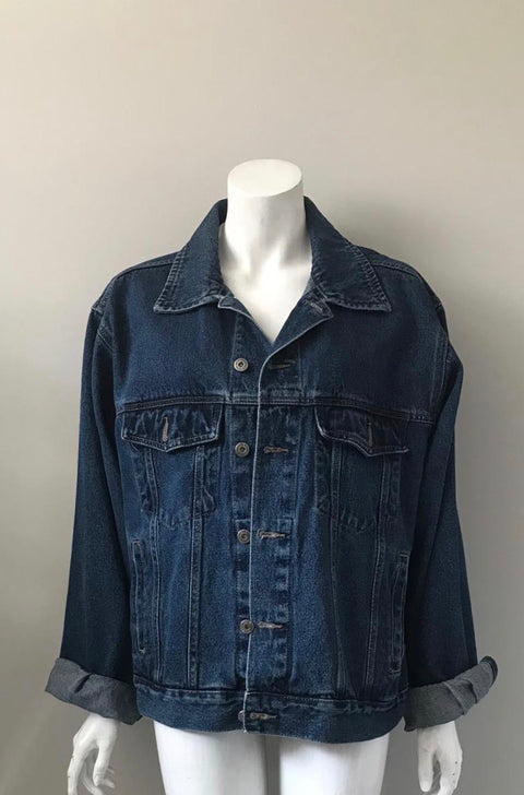 Vintage Wrangler Dark Blue Oversized Denim Jacket Size L/XL