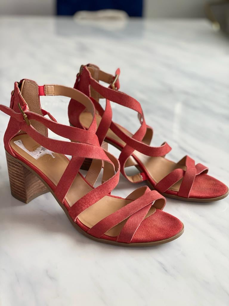 Franco Sarto Orange Suede Block Heel Sandals Size 10