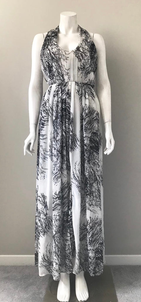 Umgee Black & White Print Maxi Dress Size M