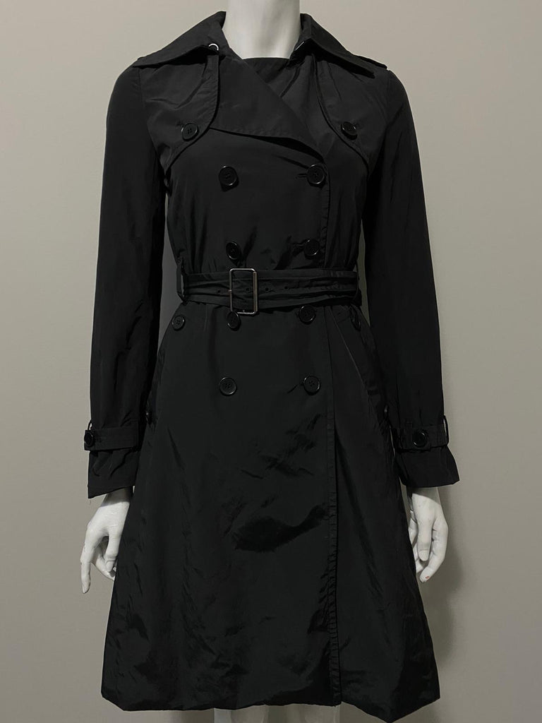 Theory Black Trench Coat Size S
