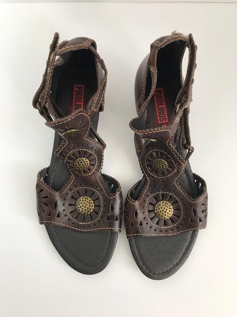 Brand New Pikolinos Brown Leather Sandals Size 37