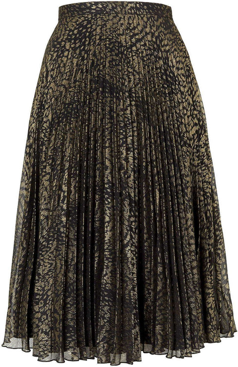 Topshop Gold Animal Print Metallic Pleated Skirt Size 6
