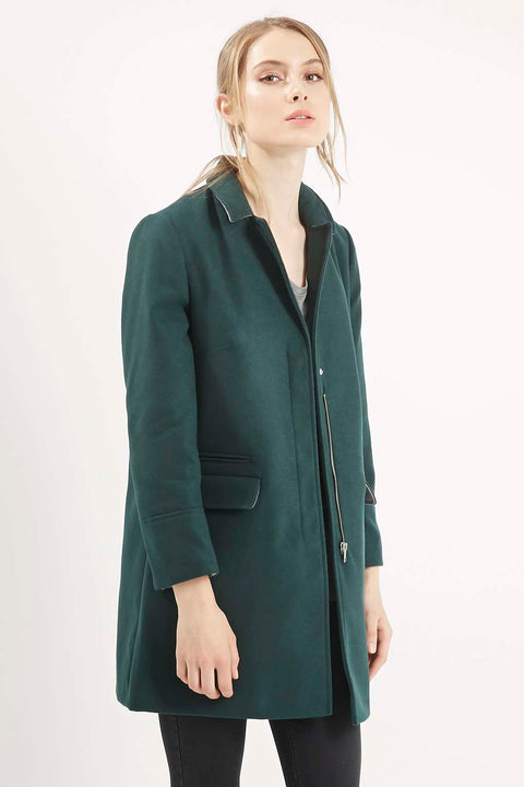 Topshop Green Longline Wool Coat Size 6