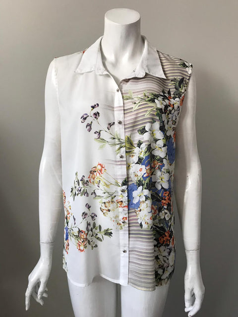 Ness Floral Sleeveless Blouse Size XL