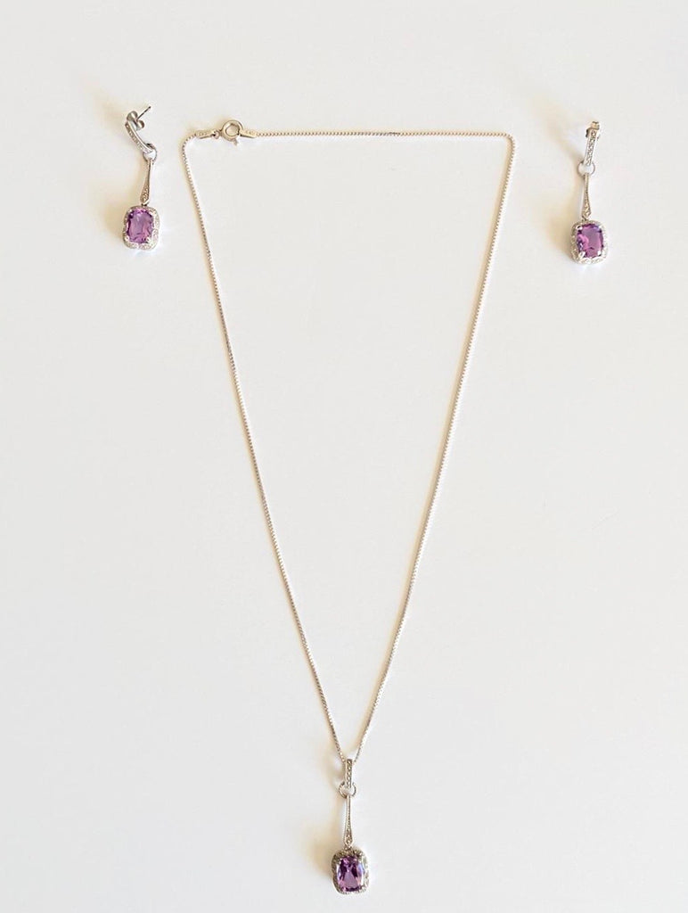 People's Diamond  Cushion-Cut Amethyst Pendant & Earring Sterling Silver Set