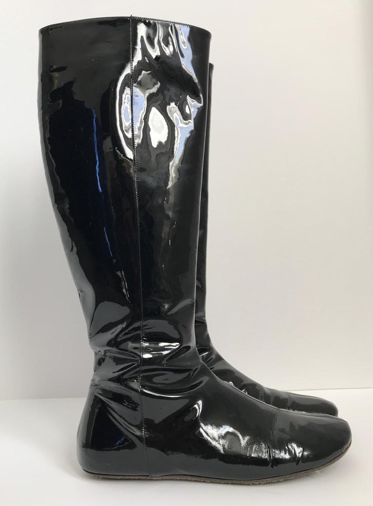 Kate Spade Black Tall Patent Leather Boots Size 8