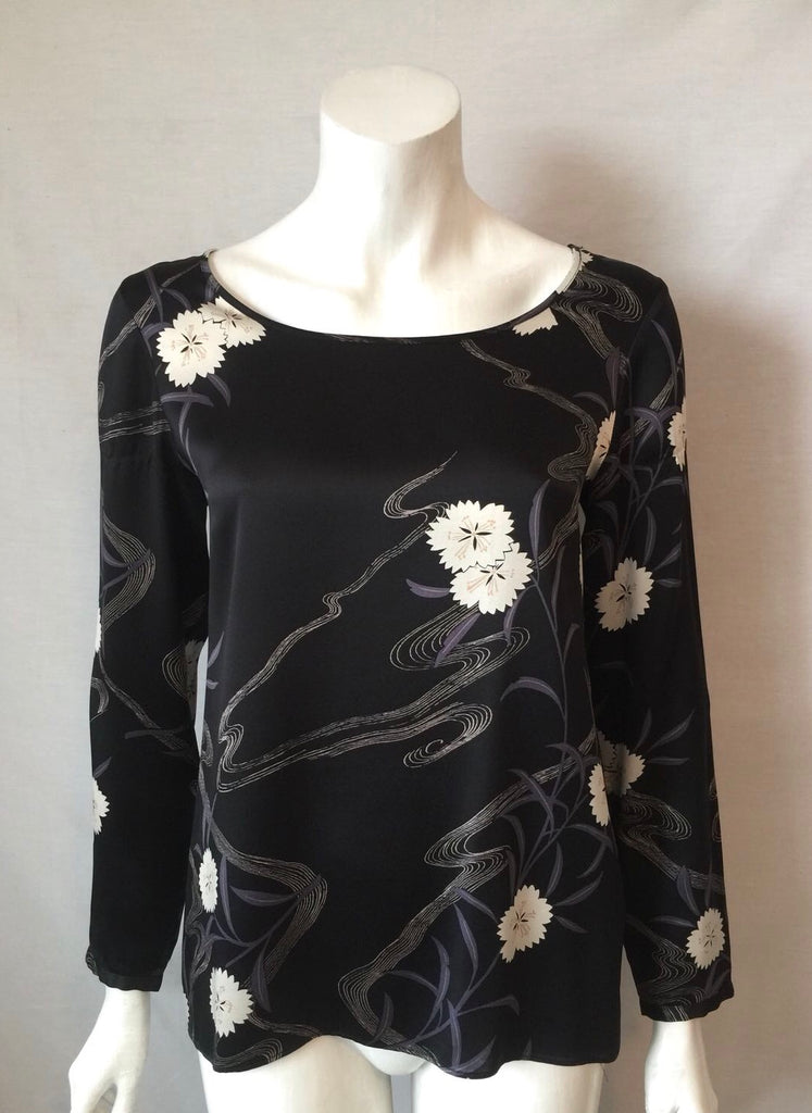 Club Monaco Black Floral Silk Printed Blouse Size XS