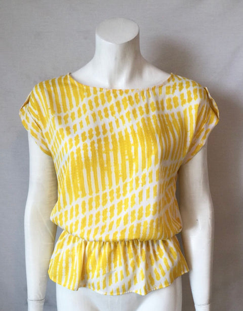 Michael Kors Yellow Print Boat Neck Blouse Size XS