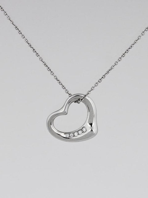 Tiffany & Co Elsa Peretti Small Open Heart Platinum and Diamond Pendant Necklace - Joyce's Closet  - 1