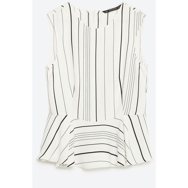 Zara Black & White Stripe Peplum Blouse Size XS
