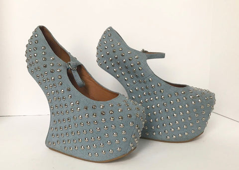 New Jeffrey Campbell Denim Shadow Heeless Mary-Jane Heels Size 9.5