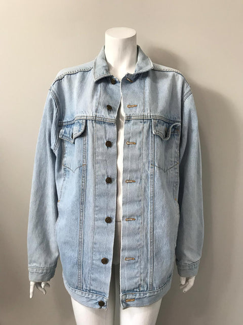 Vintage Oversized Light Wash Blue Denim Jacket Size L -XL