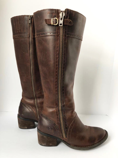 Born Brown Tall Leather Riding Boots Size 8