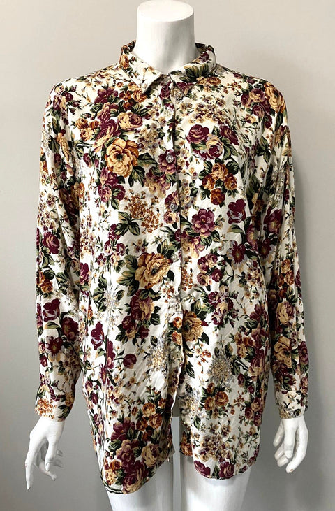 Vintage Brown Floral Button Down Shirt Size 44