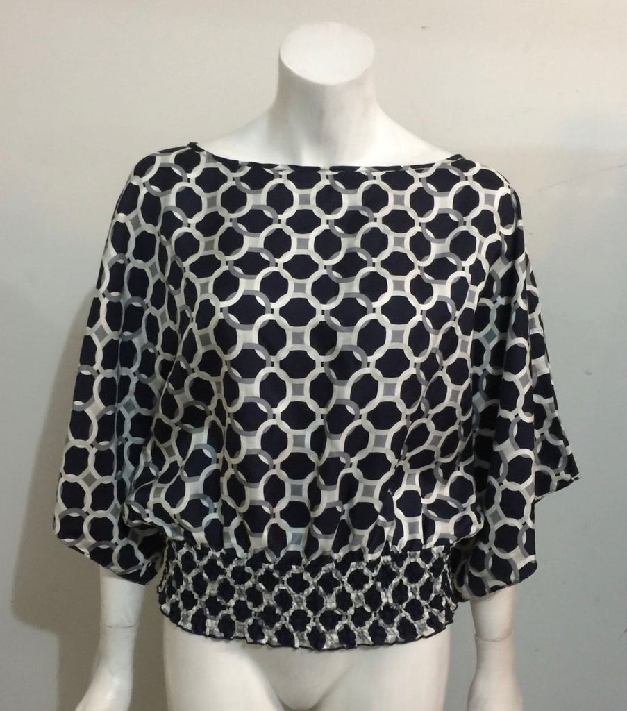 Michael kors Blue & White Patterned Blouse Size S
