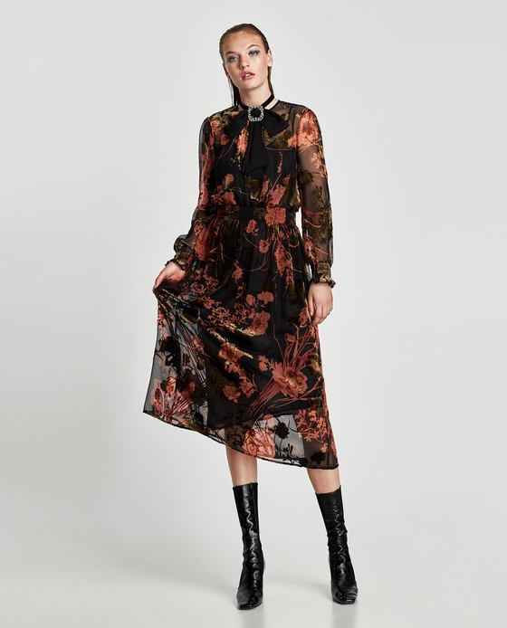 Brand New Zara Black & Red Floral Dress Size L