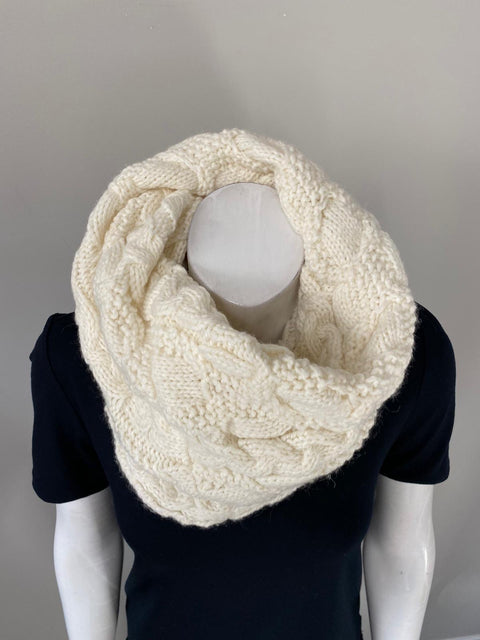 Cream Wool Knit Circle Scarf O/S