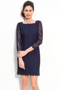Adrianna Papell Navy Lace Sheath Dress - Joyce's Closet  - 1