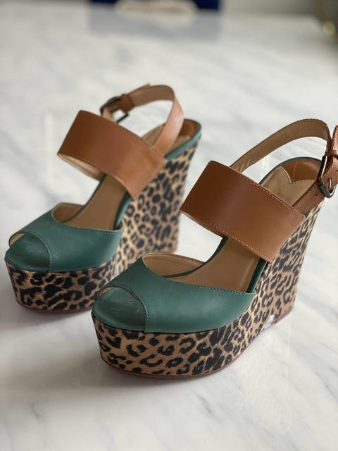 Nine West Teal & Leopard Wedge Sandals Size 8