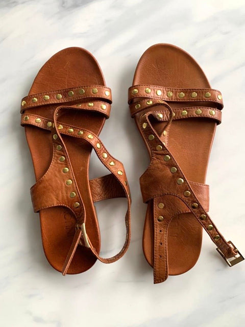 Inuovo Brown Studded Sandals Size 39