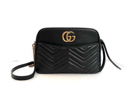 Gucci Marmont Black Leather Medium Camera Bag