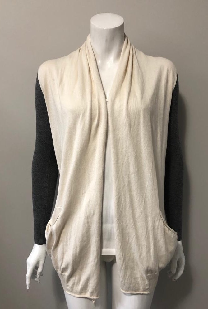 Wilfred Cream & Grey Cashmere & Silk Cardigan Sweater Size XXS