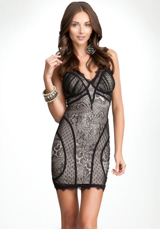 Bebe Black & Nude Lace Dress Size XS